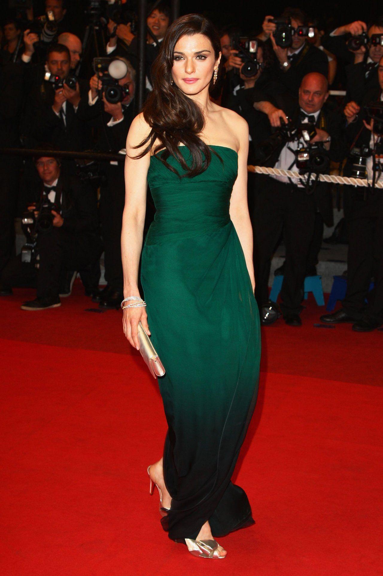 Rachel Weisz Red Carpet Dark Green Dress Green