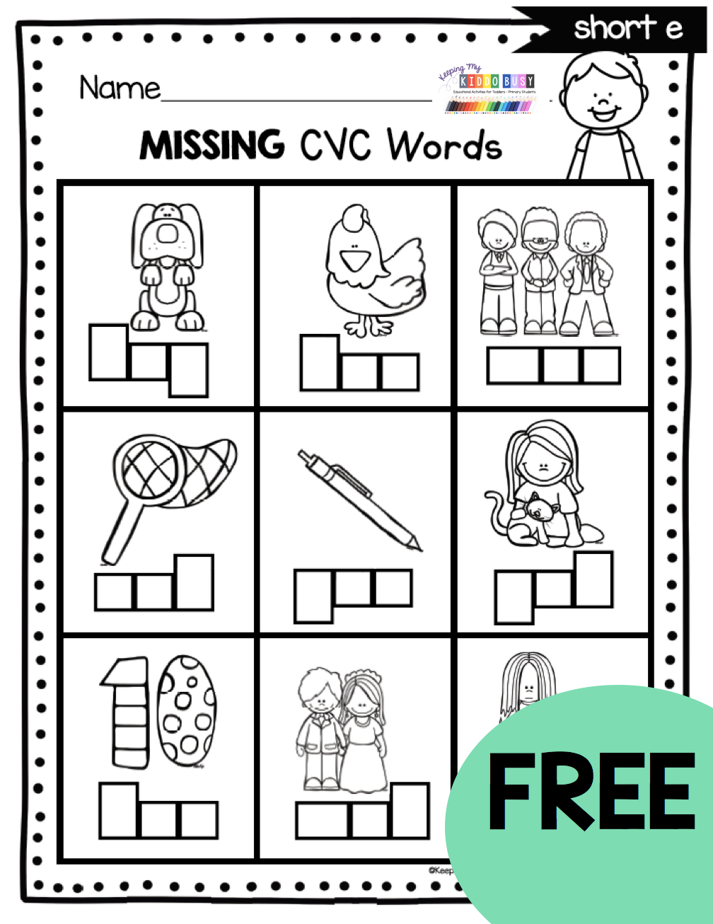 FREE Phonics Worksheets and activities for teaching short vowels CVC words  kindergarten first grade   Cvc words kindergarten [ 1306 x 1008 Pixel ]