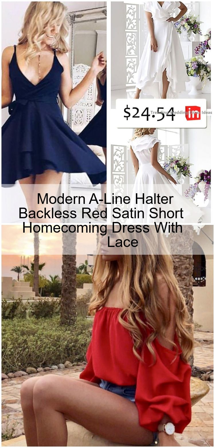 Modern A-Line Halter Backless Red Satin Short Homecoming Dress With Lace #shortbacklessdress