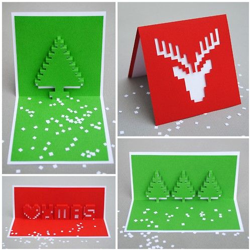 Weihnachtskarten Ideen.Diy Holiday Pixel Pop Up Cards Templates From Minieco Here There