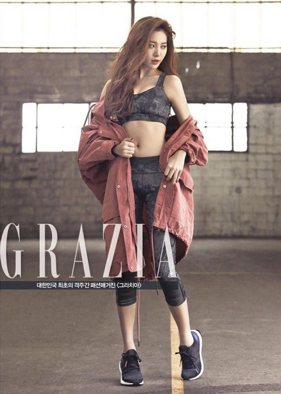 Girl's Day's Yura is a sexy 'Adidas' model for 'Grazia' | http://www.allkpop.com/article/2015/03/girls-days-yura-is-a-sexy-adidas-model-for-grazia