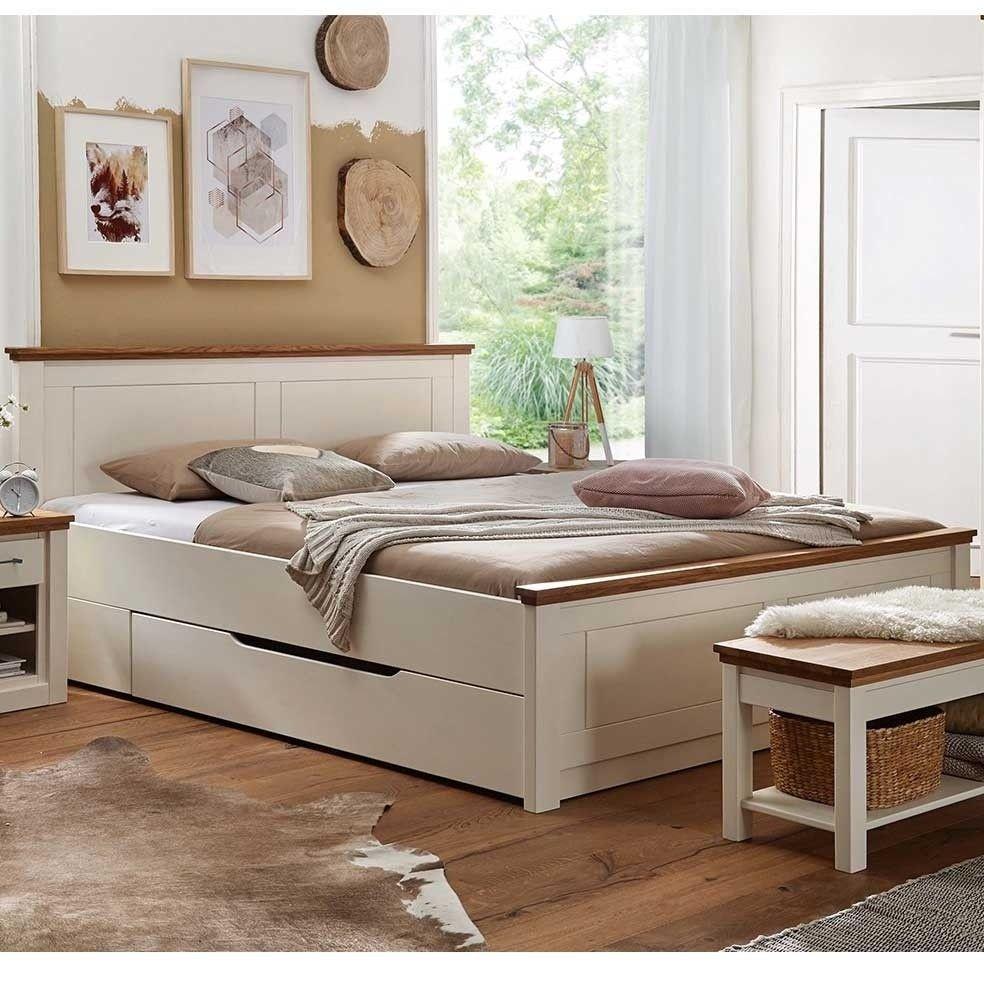 Landhaus Doppelbett Zweifarbig In Creme Eiche Bettkasten Optional Meicus Bett Haus Deko Doppelbett