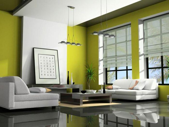 Kleines Wohnzimmer Einrichten Apfelgrüne Wandfarbe Hochglanz Bodenbelag  Weiße Sofas