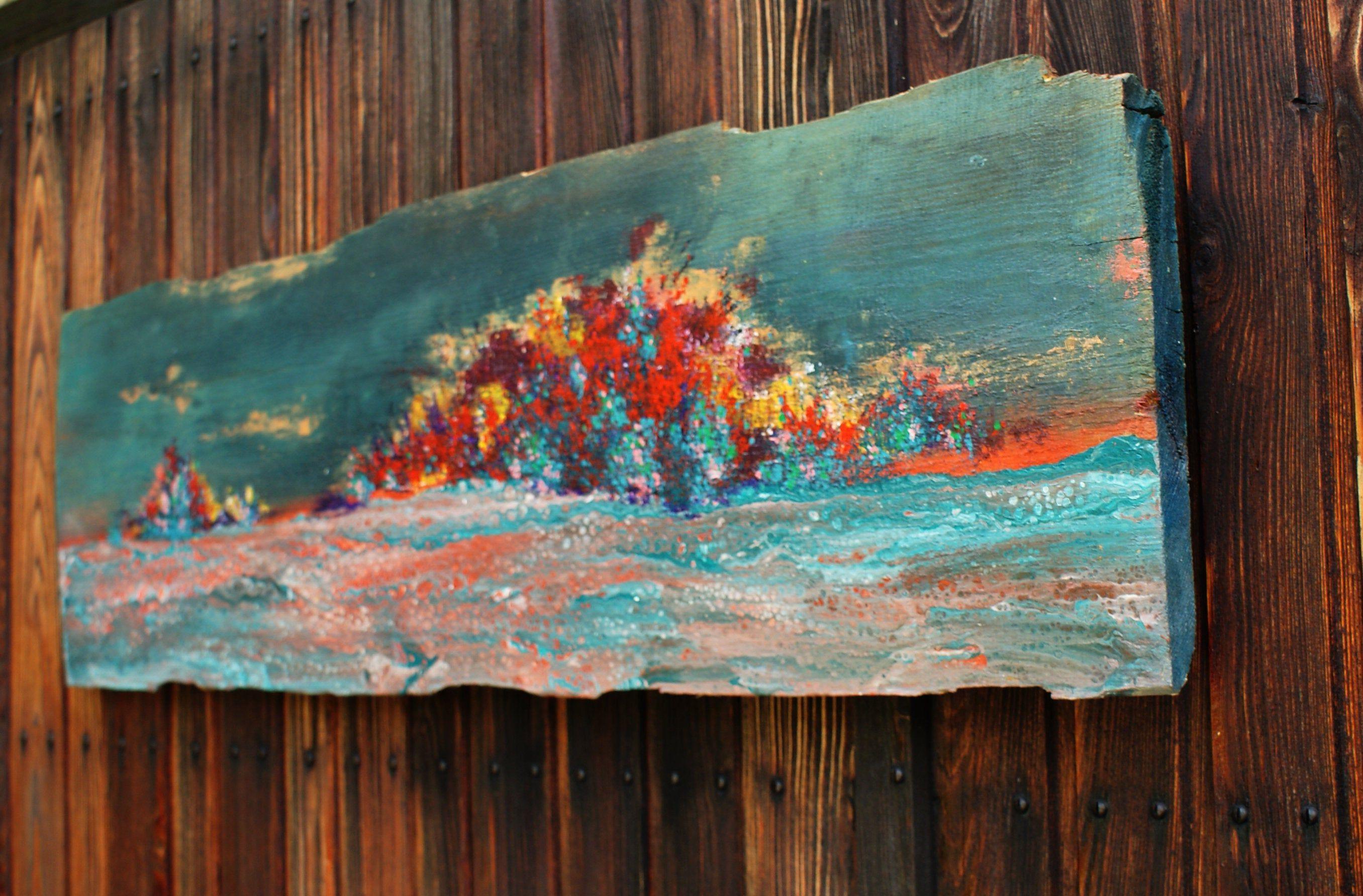 Abstrakte Malerei Auf Holz Farb Explosion Bunt Malerei Auf
