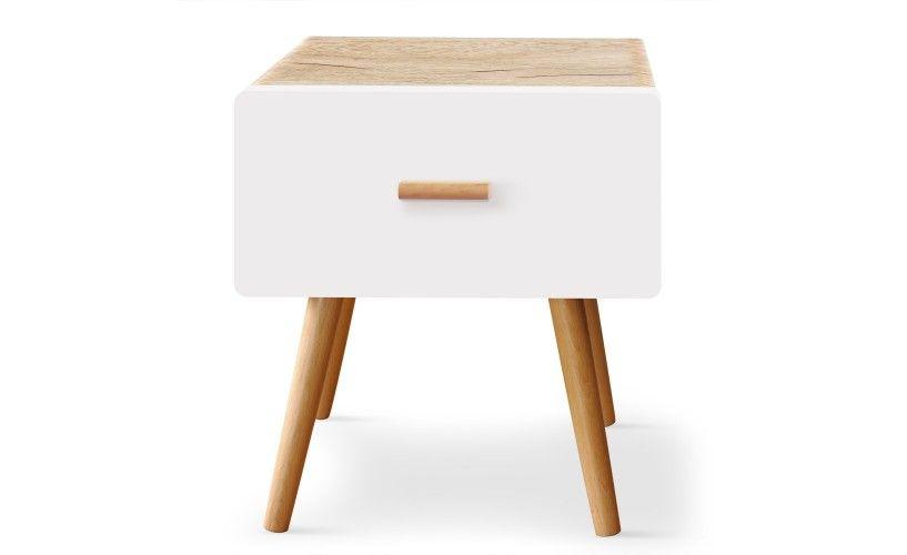 Table De Chevet Scandinave 1 Tiroir Amanda Chene Clair Et Blanc Table De Chevet Table De Chevet Scandinave Table De Chevet Design