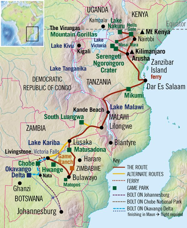 Nairobi to The Victoria Falls Safari Route Map Out of Africa