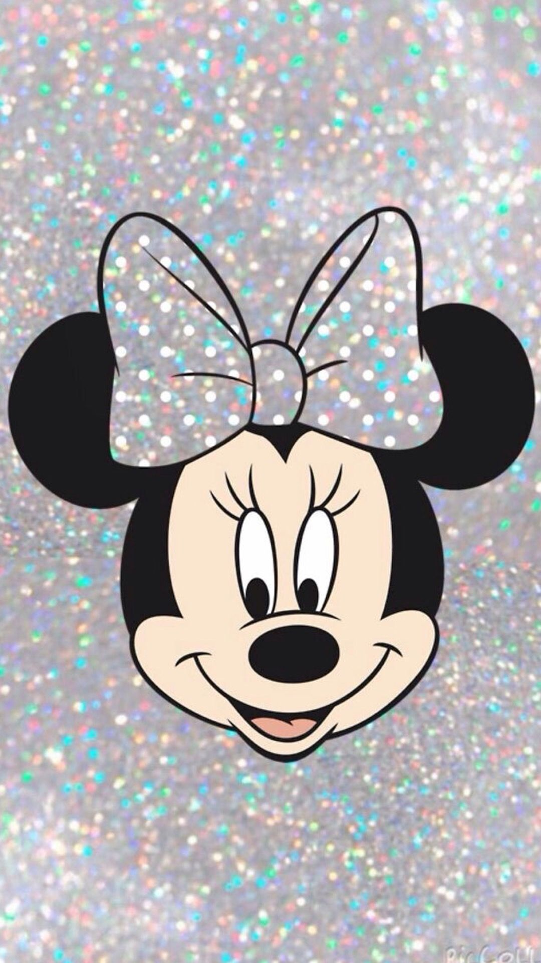 Wallpaper of Silver Sparkly Minnie Mouse disney