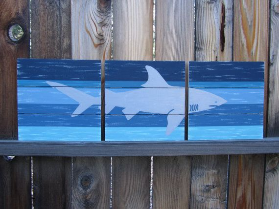 Shark Wall Art Boys Room Decor Kids Bathroom Ocean Beach Surf Toddler Boy Baby Nursery Hand Painted On Wood
