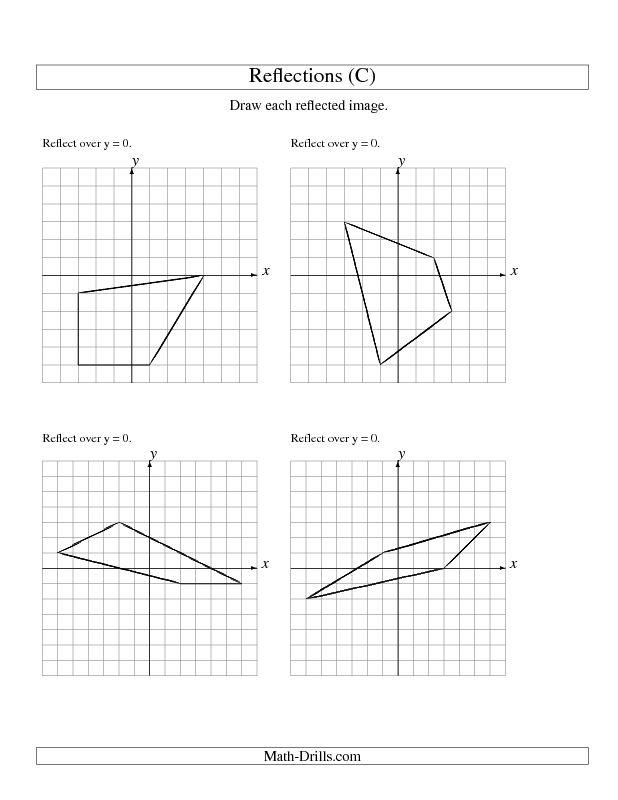 Geometry Worksheet Reflection of 4 Vertices Over the x or y – Reflection Worksheet