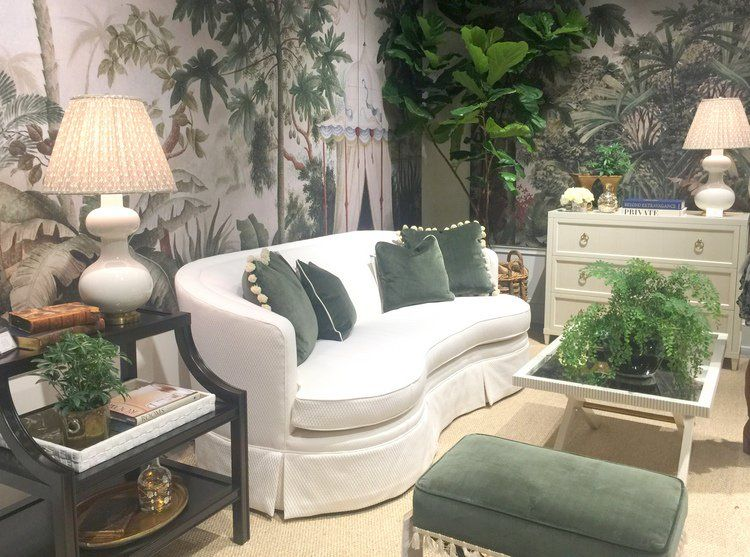 White Sofa Green Leaf Wallpaper Forest Pillows And Upholstery At Highland House Furniture Showroom