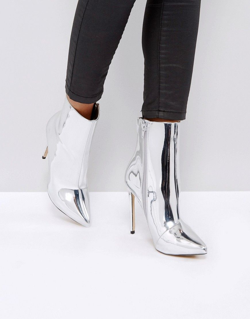 Aldo Point Metallic Silver Loreno Boots Ankle O0N8nvwym