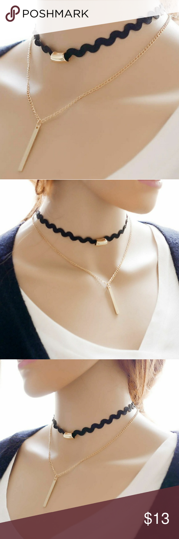 New 2pc Gold and Black Necklace Choker New Jewelry Necklaces