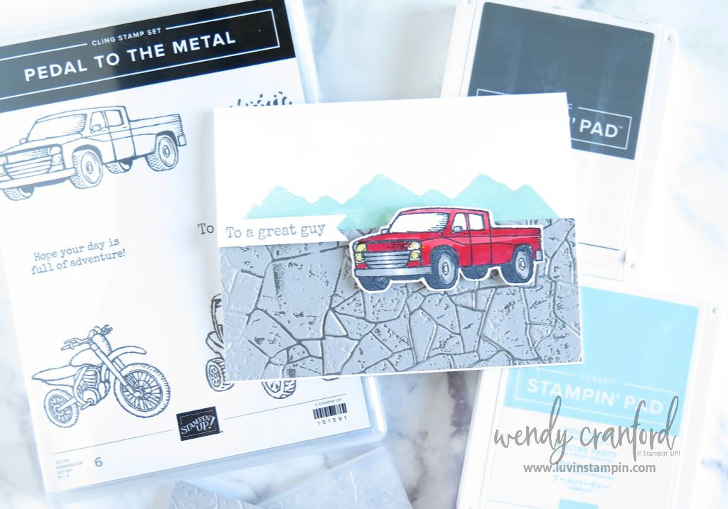 Inked Embossing Folder Trick with Pedal To The Metal Stamp Set