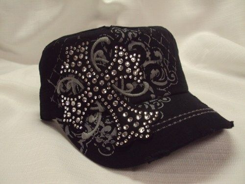 Sassy Strands Bling Hats - Black/Cross | sassystrandsjewelry - Accessories on ArtFire