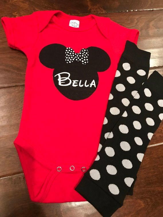 b7bc11f87f2 Baby Girl Minnie Mouse Red Onesie/Bodysuit w/ Leggings! Baby Girl 1st First  Birthday Disney Style Clothing Birthday Party. Embroidered and Personalized  to ...