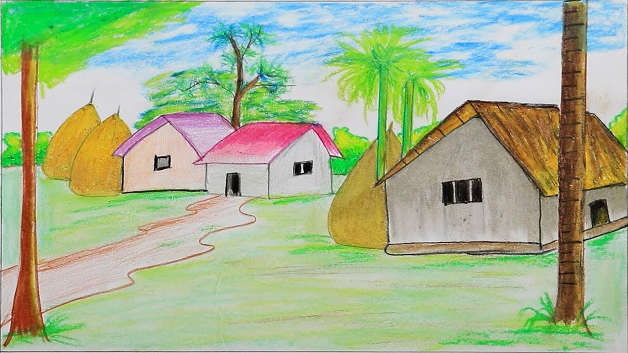 How To Draw Village Scenery Step By Step With Oil Pastel Very Easy