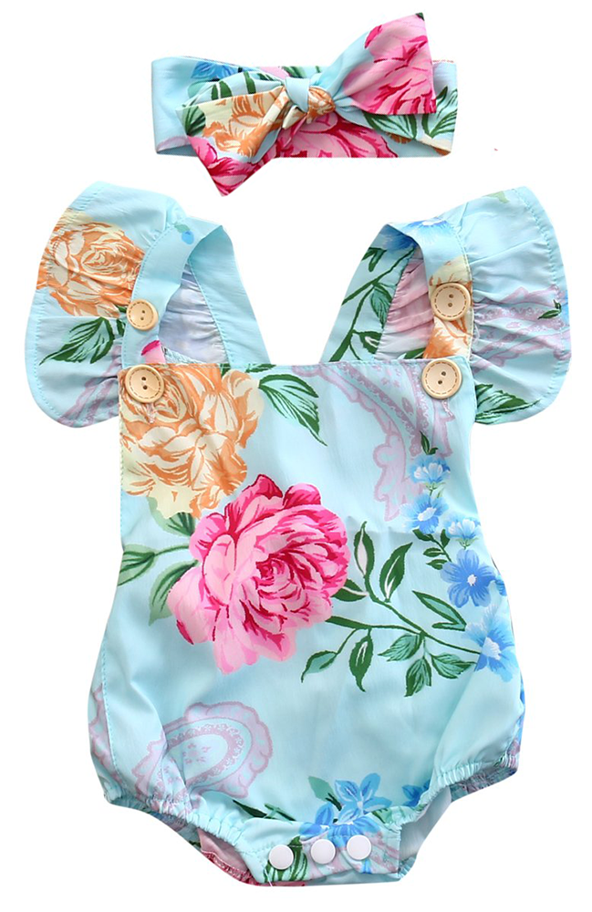 1e434e7c2f62 SALE 50% OFF + FREE SHIPPING! SHOP Our Blue Floral Romper for Baby ...