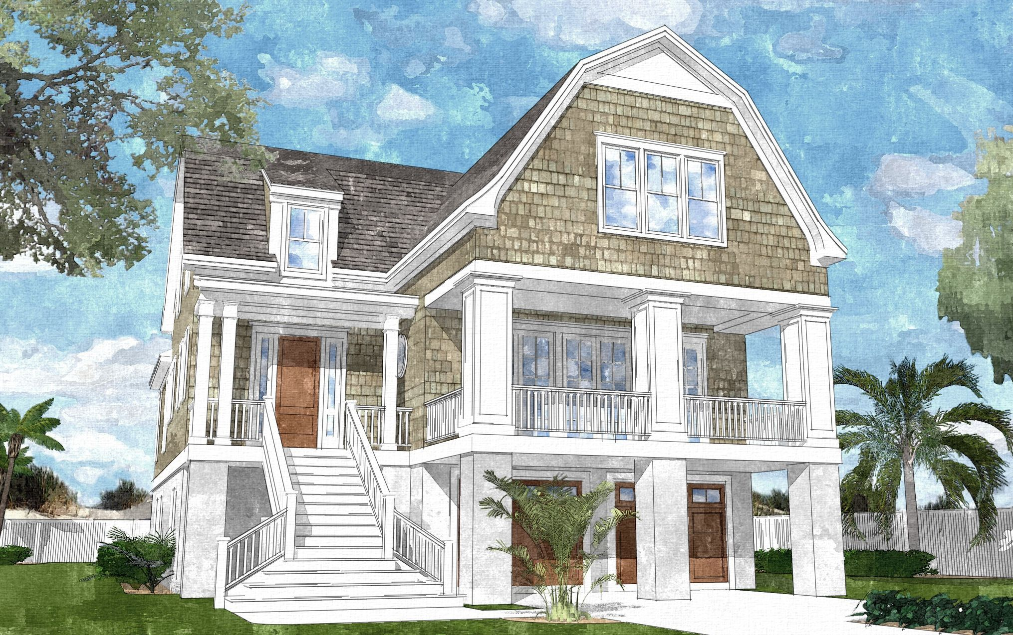 Plan NC Gambrel Roofed Shingle Style House Plan