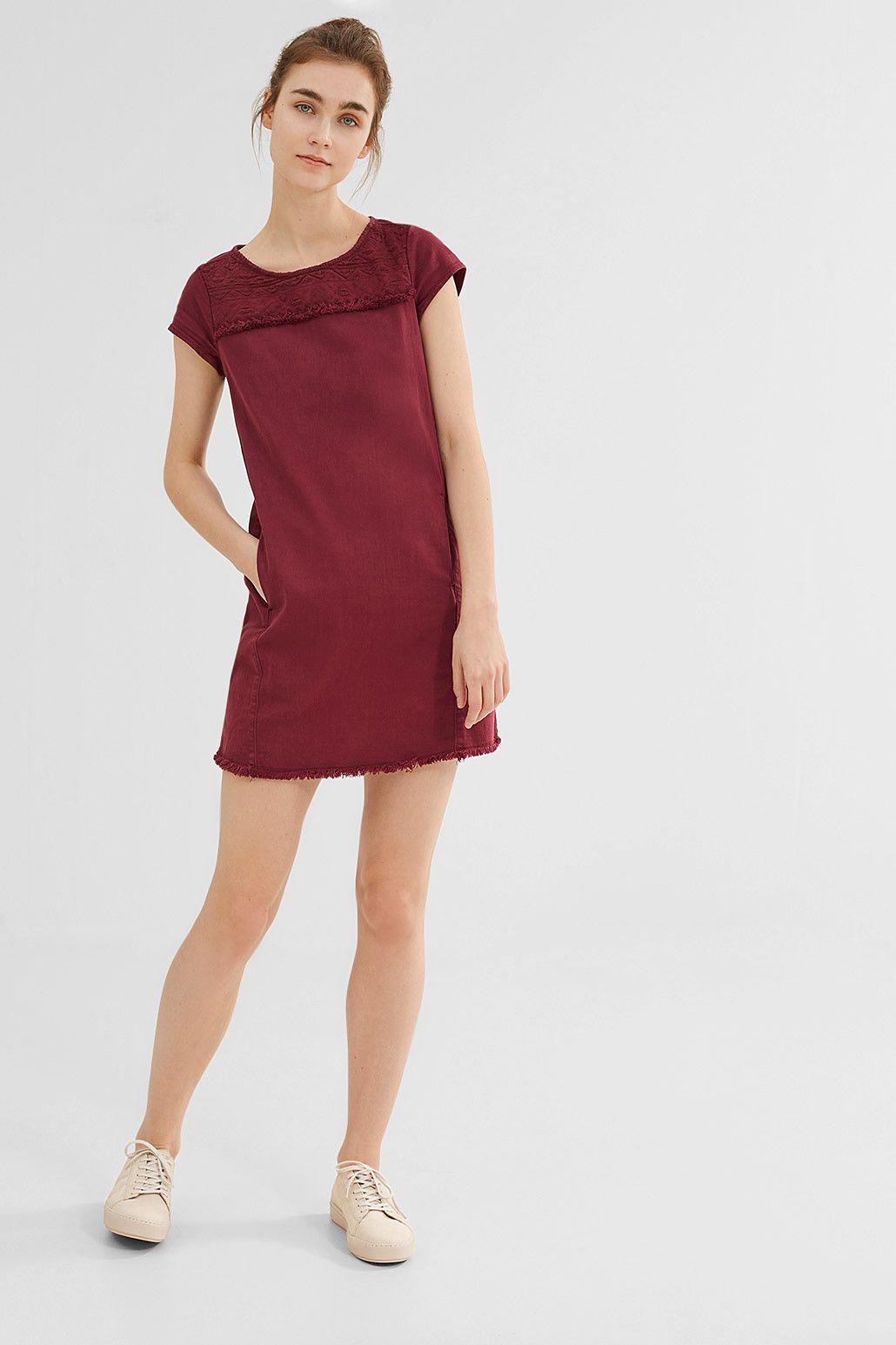 Esprit - Besticktes Kleid aus coloured Denim im Online Shop kaufen