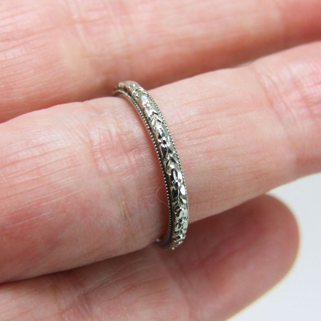 Vintage Art Deco 18K White Gold Carved Wedding Band Ring -- I need ...