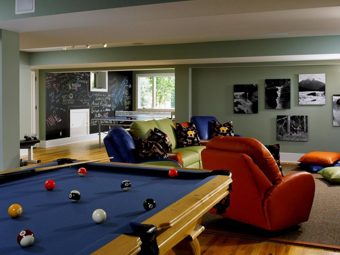 Exciting Kids Media Rooms Pictures Options Tips Ideas Home With Blue Billiard Table And Red Club Chair Also G Game Room Family Media Room Design Game Room Kids