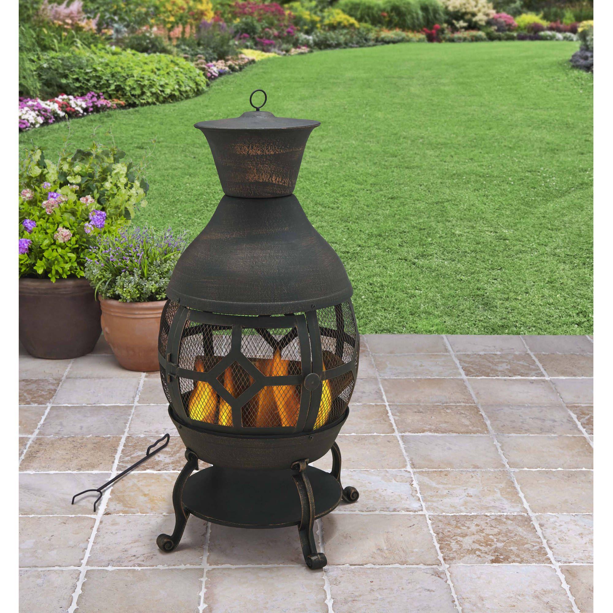 Cast Iron Chimenea Fireplace Antique Bronze Outdoor Living Patio Fire Pit  Heat In Home U0026 Garden, Yard, Garden U0026 Outdoor Living, Outdoor Cooking U0026  Eating, ...