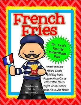 Sight Words.French Fries-Dr Fry's First 100 Instant Words Pack is a super pack that contains 10 teaching aids including mini books and word wheels for meaningful focus. These are the first 100 words that children encounter in elementary school reading.