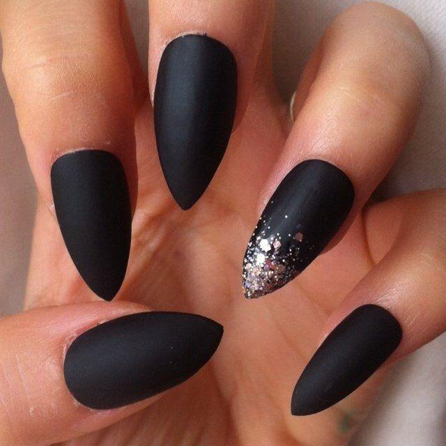 Matte black alien stiletto nails | Nails | Pinterest | Matte black ...