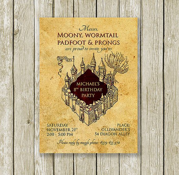Harry potter inspired printable birthday party invitation the harry potter inspired printable birthday party invitation the marauders map customized with your text for filmwisefo
