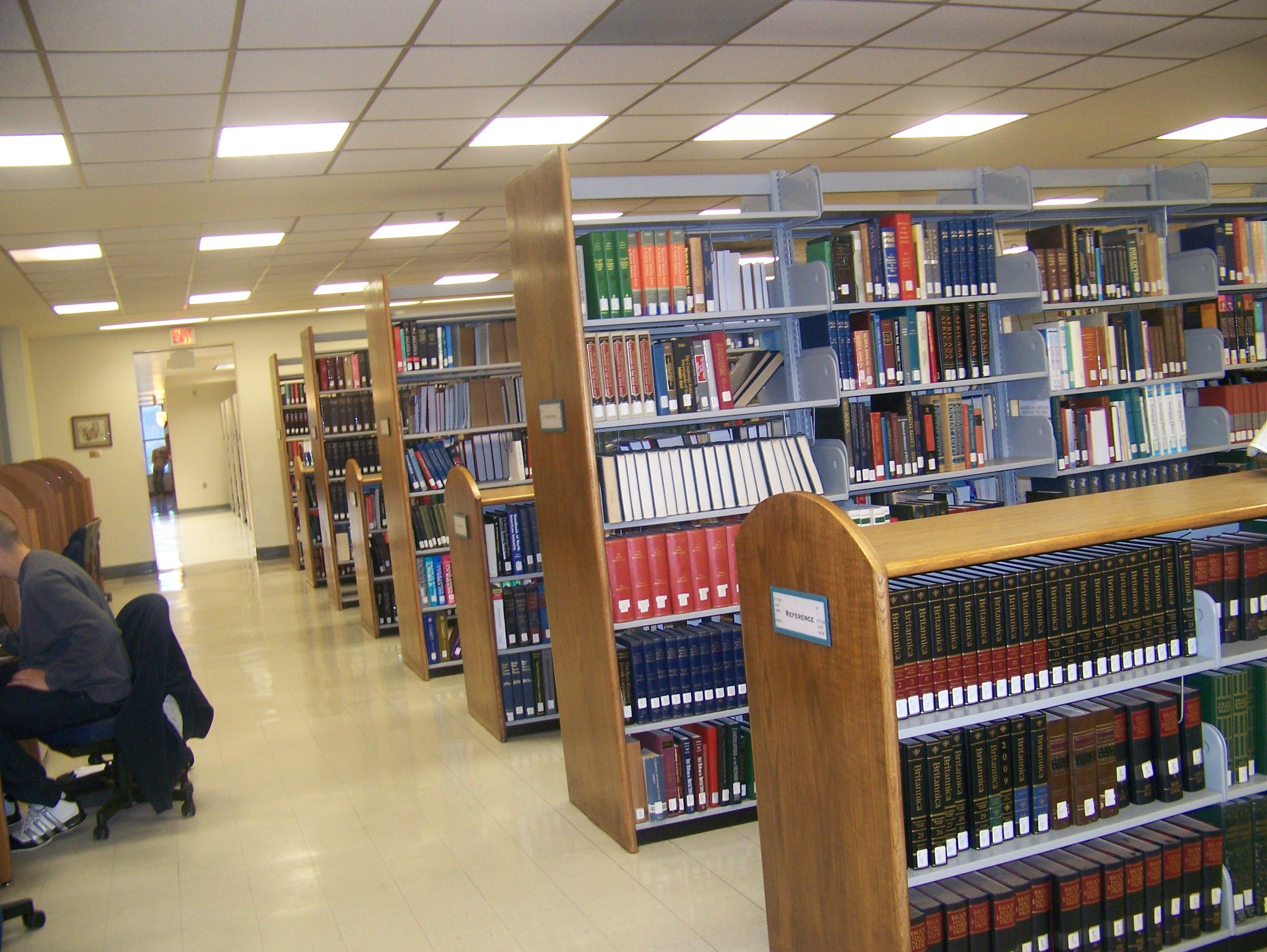 A look at the reference area with the tall and short shelves