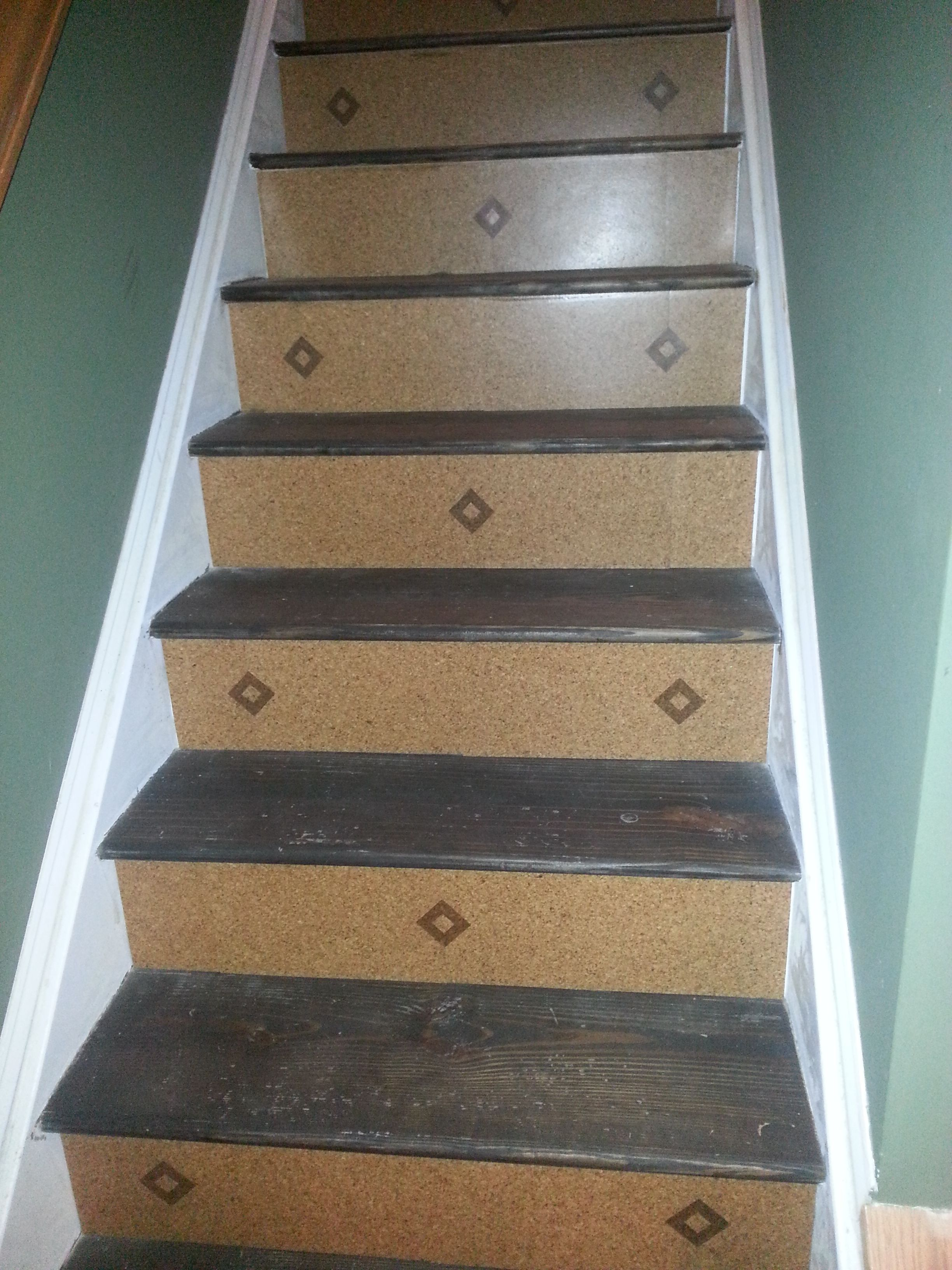 Cork floor basement stairs