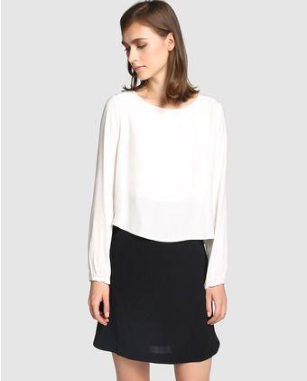 Vestido corto en blanco y negro