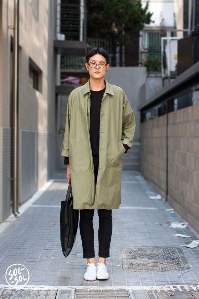 SOL-SOL: olive green duster coat