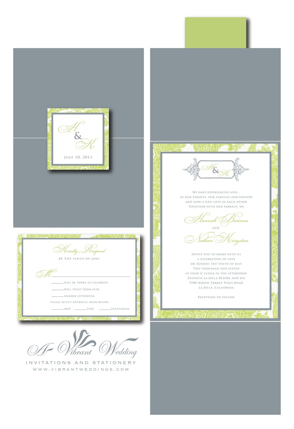 Gray & Green Wedding Invitation - Gate Fold Style | Invites ideas ...