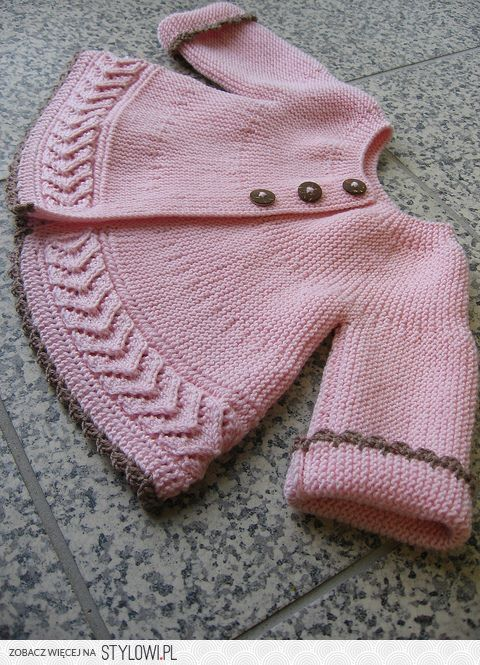 Contrast color edges look lovely. The design looks interesting, however... not sure if practical for a baby :) Anyway - great idea to use the cascading leaves stitch not only in front or on the sleeves but also as a bottom border.