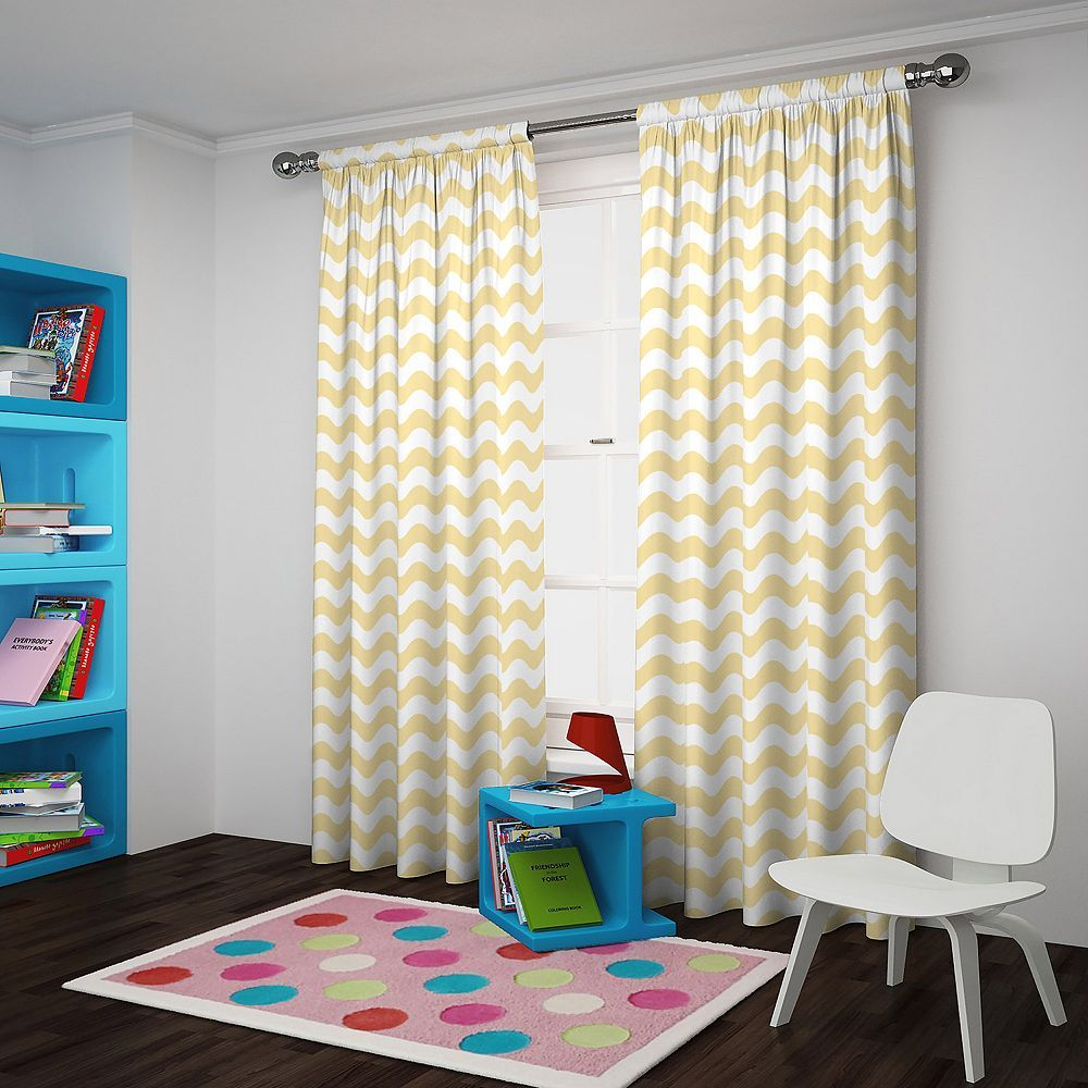 Eclipse Thermaback Blackout 1 Panel Wavy Chevron Window Curtain Yellow