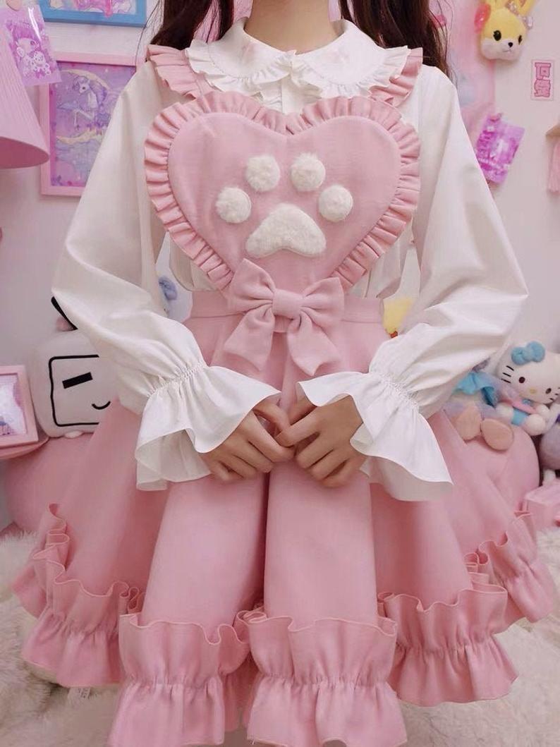 Pastel Maid Dress - Pink Fuzzy Kitten Paw Suspender Dress & White Ruffled Blouse SET, Cat Paw Yami Kawaii Maid Dress, Sweet Lolita Dress