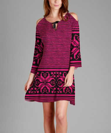 This Pink & Black Abstract Shoulder-Cutout Dress - Plus is perfect! #zulilyfinds