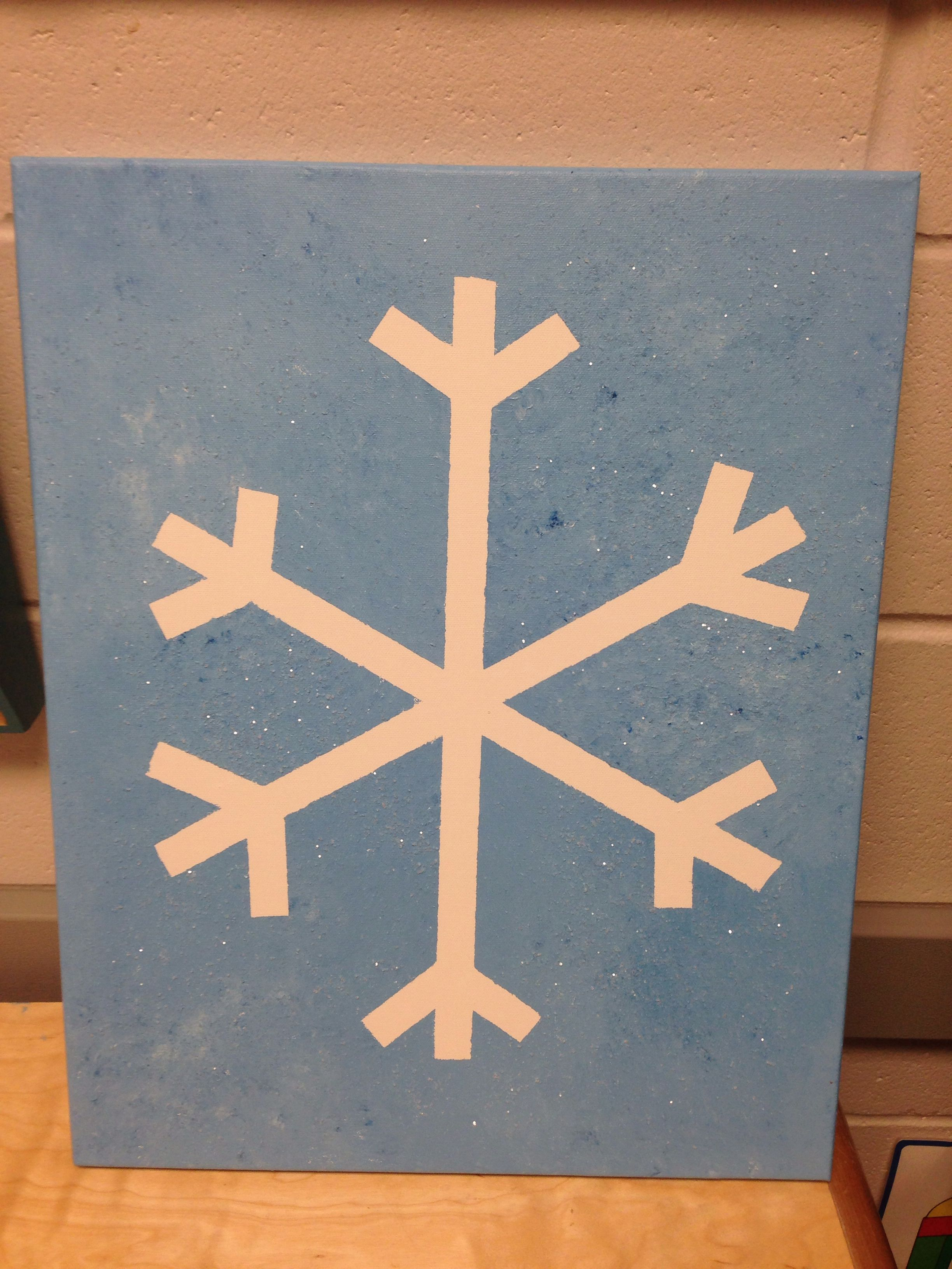 Use Masking Tape To Make A Snowflake Mix White And Blue Acrylic Paint Sponge Onto The Canvas W Christmas Party Crafts Christmas Card Crafts Cute Kids Crafts