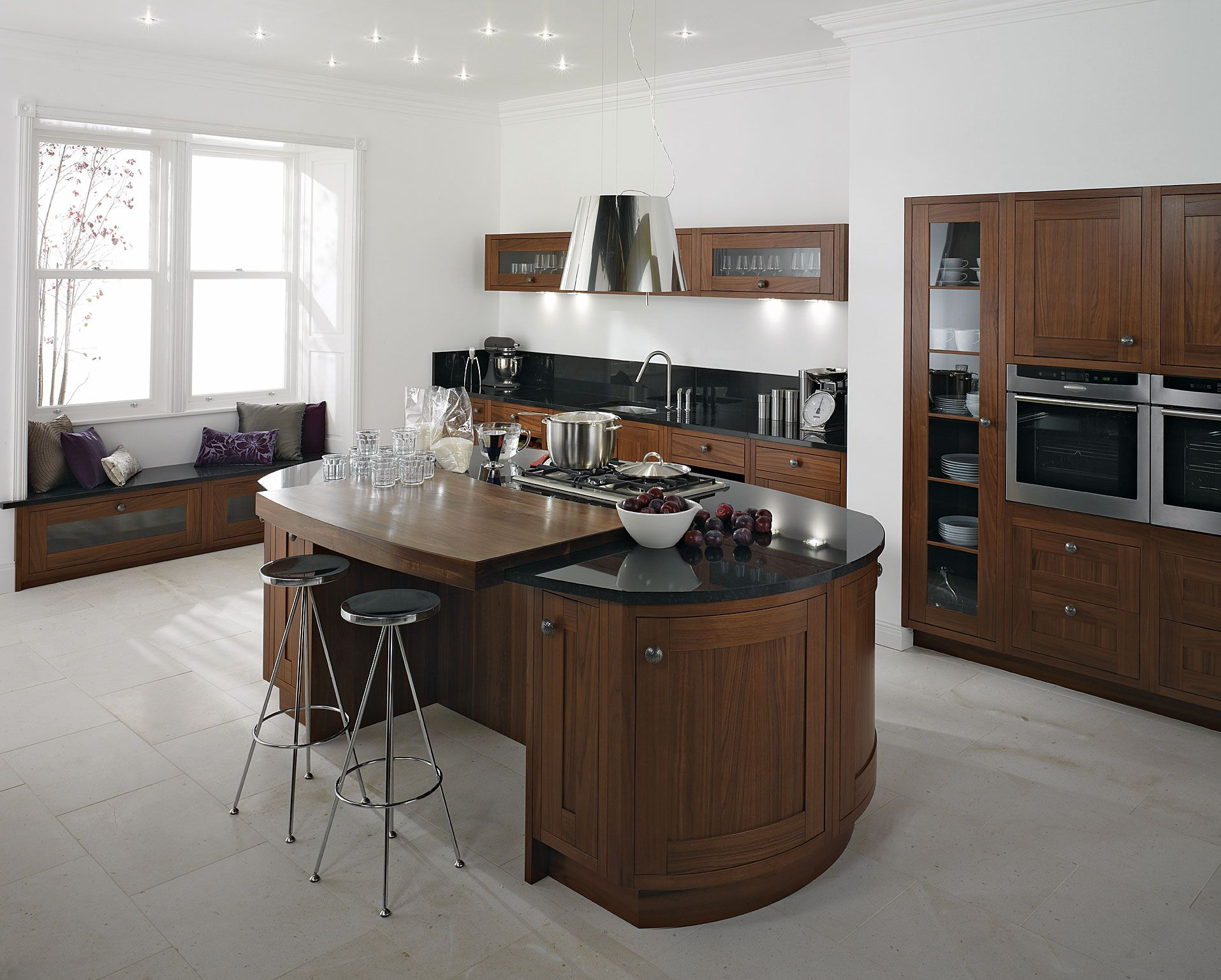 Classy Black Oval Granite Tops Kitchen Island With Seating Of
