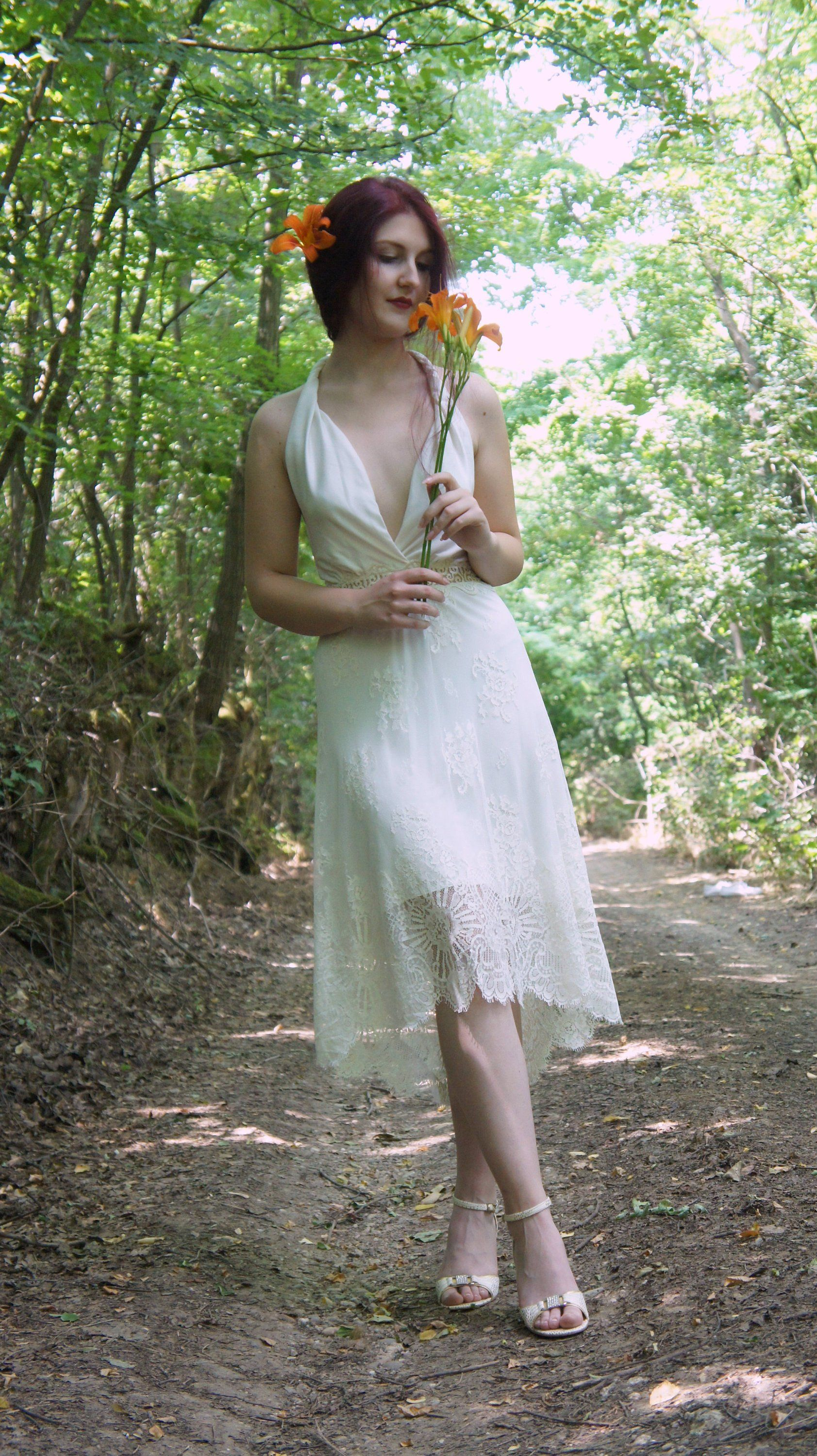 Short wedding dress boho wedding dress rustic wedding dress boho