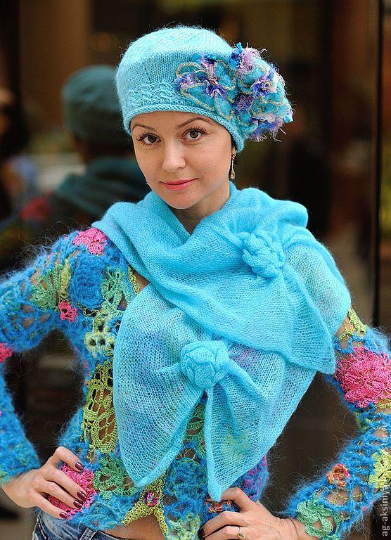 """Купить Берет вязаный и шарф """"В весну игриво я вступаю"""" - бирюзовый, берет вязаный"""
