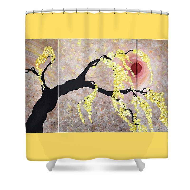 Modern Flower Blossoms Painting Oriental Art Flower Tree Wall Art Original Feng Shui Art Shower Curtain For Sale By Geanna Georgescu Tree Wall Art Flower Painting Oriental Art