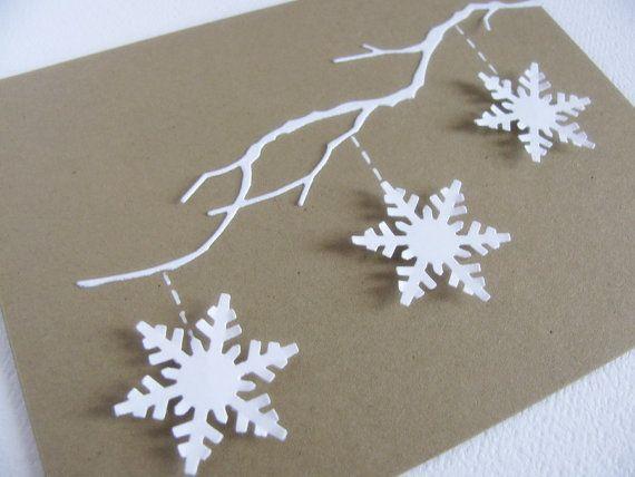 3D Weiße Schneeflocken auf zarte Zweig auf von aboundingtreasures