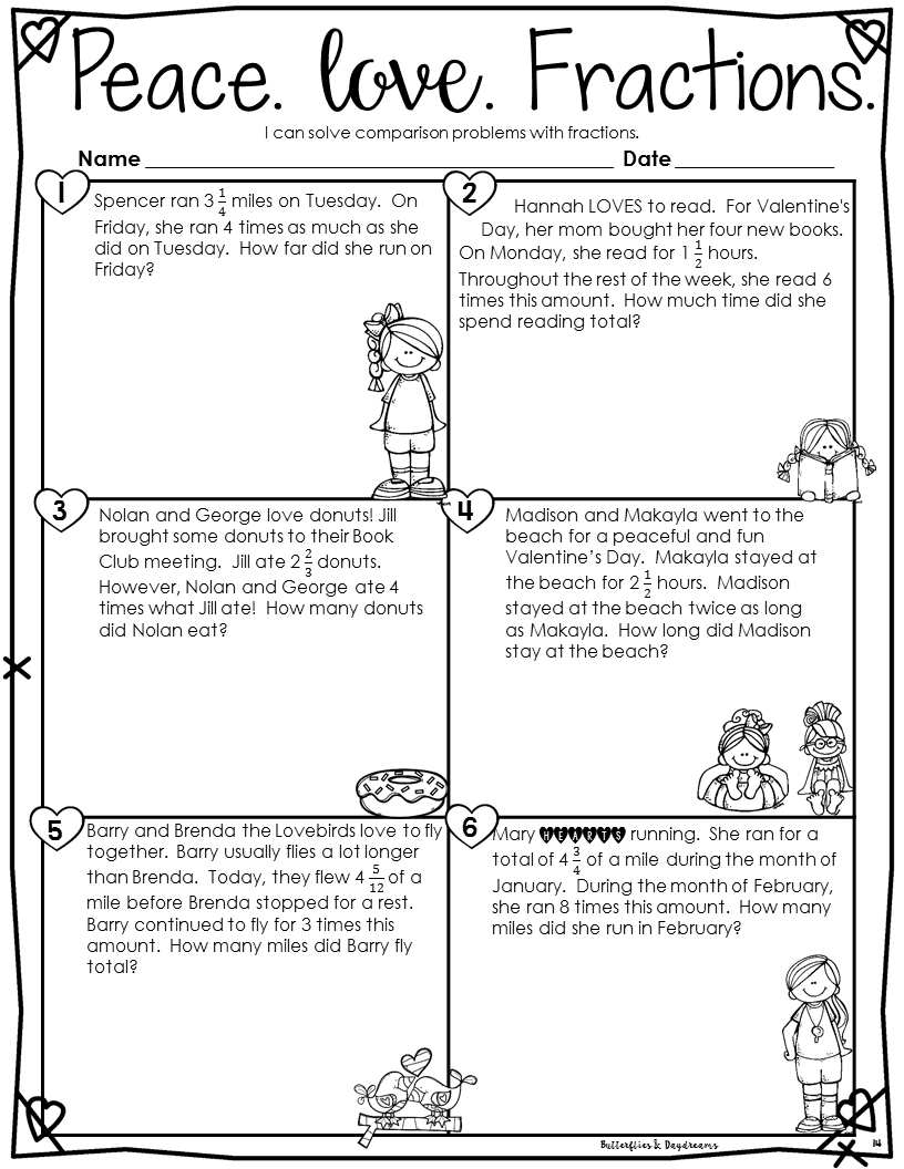 Multiplying Fractions Valentine S Day Themed 4 Math Journal Problems 7 Printable Practice Pages Appropriate For 4th Multiplying Fractions Fractions Math [ 1056 x 816 Pixel ]