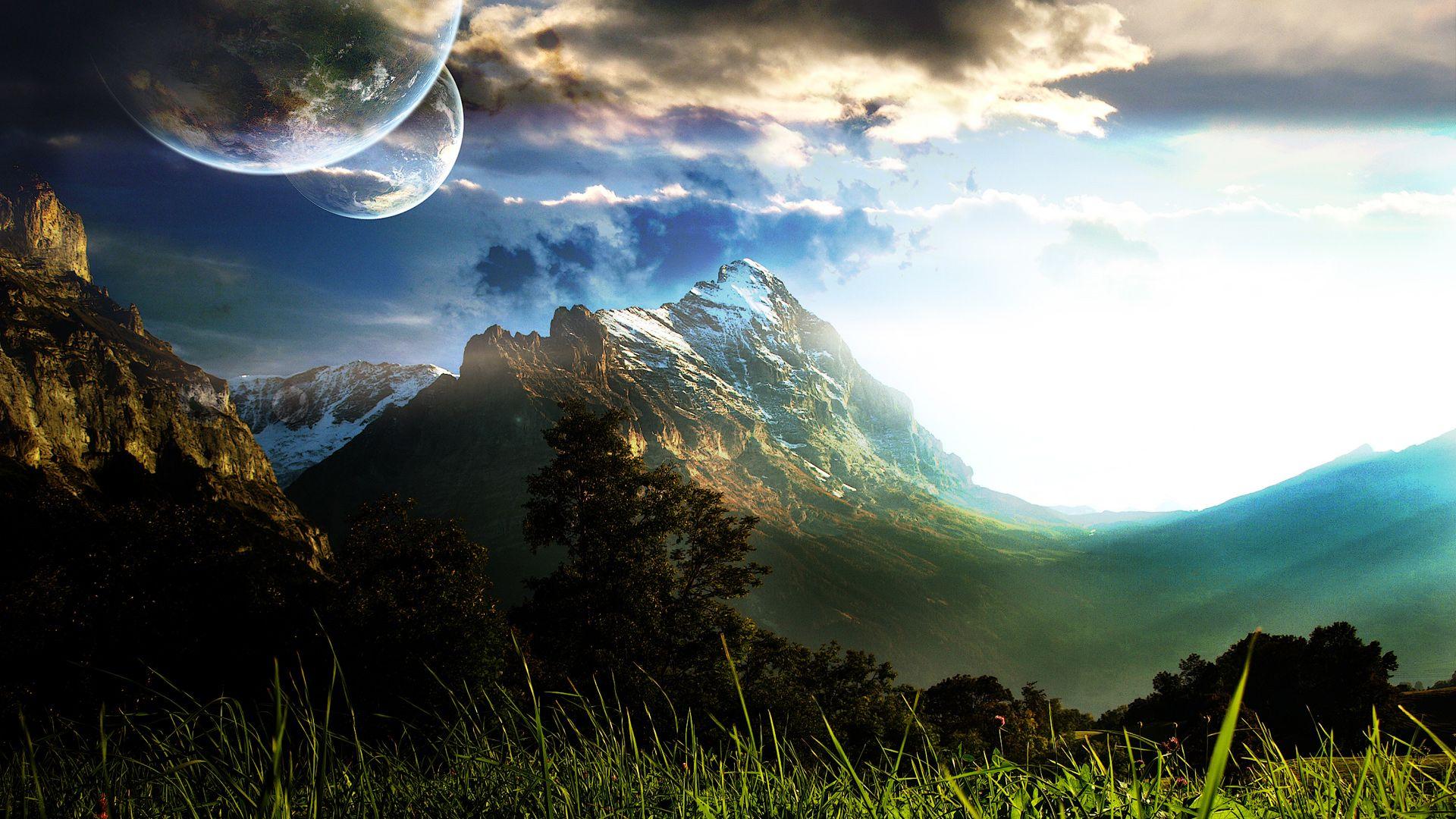 Sci Fi Landscape With Images Landscape Wallpaper Background