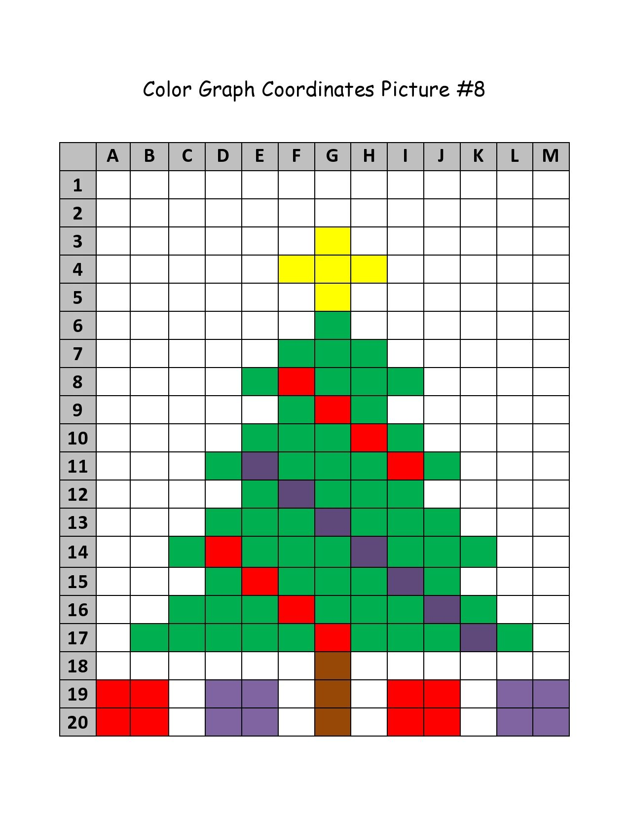 Worksheet Christmas Coordinate Grid Pictures Grass Fedjp