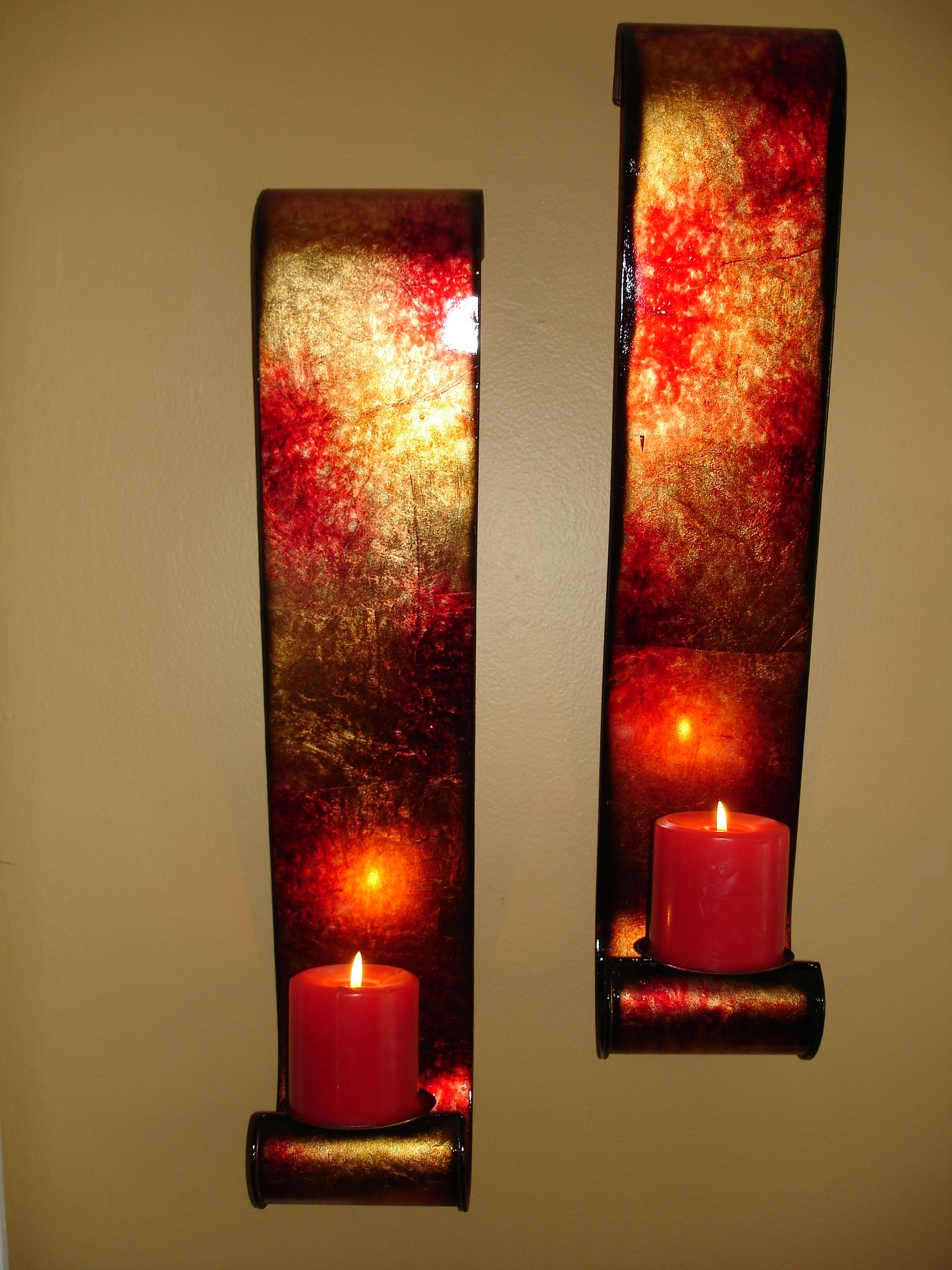 Red Gold Foil Pillar Candle Sconces Walls Talk