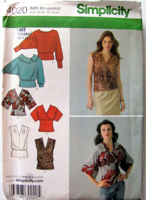 Simplicity 4020, Ladies Knit Top Sewing Pattern, Bat Wing Sleeve ...