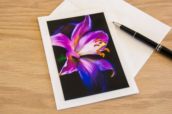 Purple Lily on Black, Tiger Lily Flower, Note Cards With Envelopes